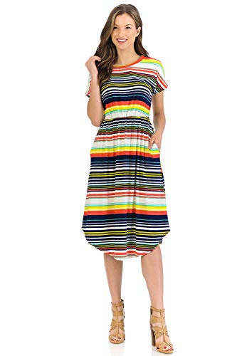 Knit Works - iconic luxe Women's Short Sleeve Flare Midi Dress with Pockets Medium Navy Yellow Striped