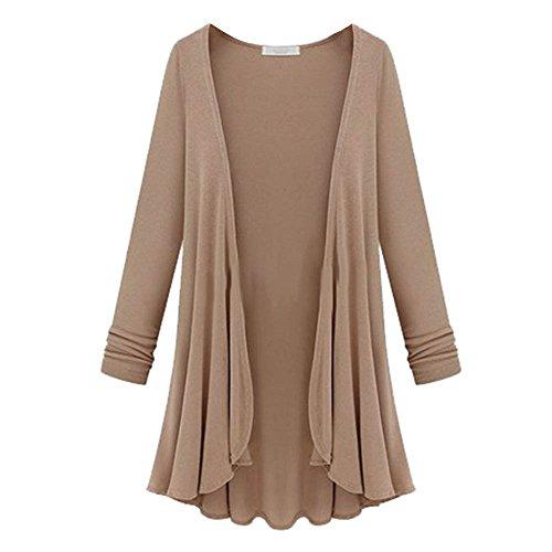 Cinnamou moda para Blusa Abrigo Ropa de Mujer de de Chaquetas túnica abrigo mujer manga de de larga de de Caqui cardigan r4rq7xWnSA