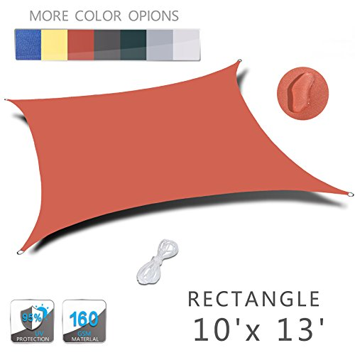 LOVE STORY 10'x 13′ Rectangle Orange Red Waterproof Sun Shade Sail Perfect for Outdo ...