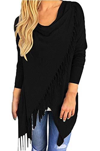 (Viottis Women's Tassel Hemn Open Front Blouse Coat Outwear Top 1-Black M)