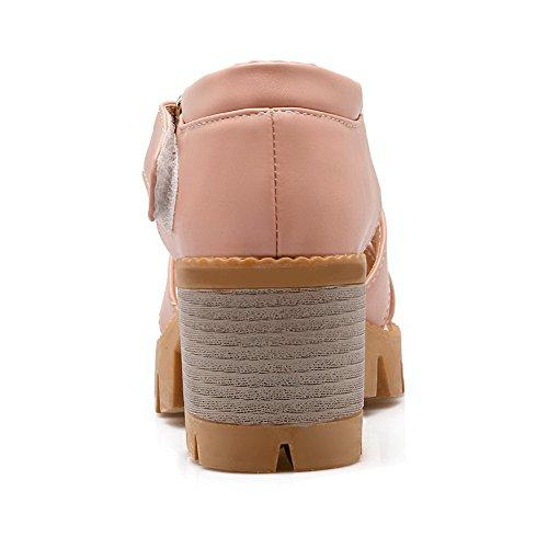 Odomolor Mujeres Velcro Material Suave Tacón Medio Peep Sandalias de vestir Rosa