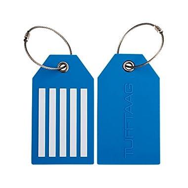 TUFFTAAG Personalized Luggage Tag Set - Customized PVC Suitcase Labels (2pk)