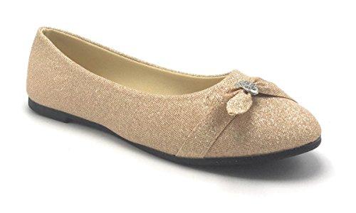 Donna Glitter Scintillio Balletto Strass Flat Ballerina Da Donna Da Sera Slip On Scarpa Oro