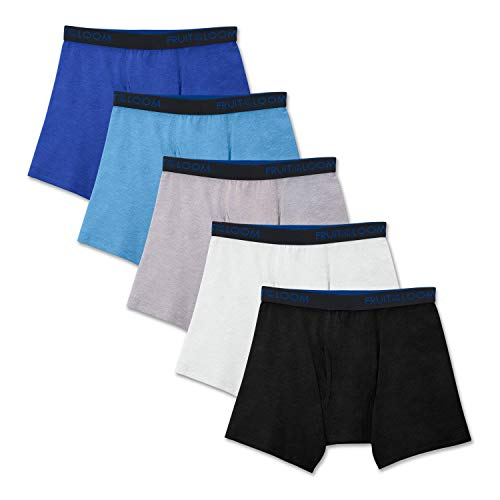 Fruit of the Loom Big Boys Breathable Boxer Brief Underwear Multipack, Cotton Assorted Large -