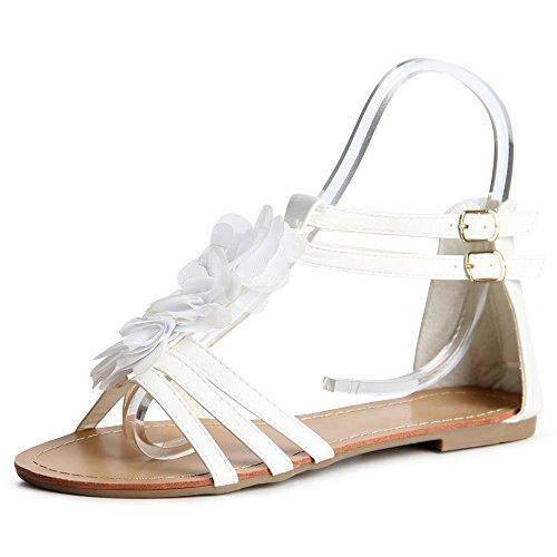 topschuhe24 836 Damen Riemchen Sandalen Weiß