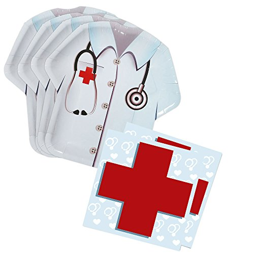Doctor Party Shaped Plate & Napkin Sets (70+ Pieces for 32 Guests!), Doctor Birthday Decorations, Nurse Party Supplies, Great for Graduations and Other Events (Shaped Plate Snack)