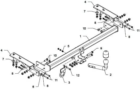 PEUGEOT 308 2007-2011 Hatchback 3//5d Swan Neck Tow Bar with Electric Kit 7Pin