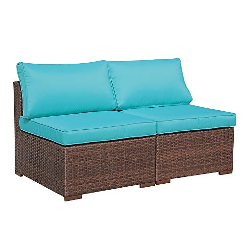 2 Piece Patio Wicker Armless Chair Outdoor Sofa Couch, Loveseat for Sectional Furniture Sets, Brown Wicker & Turquoise Cushion