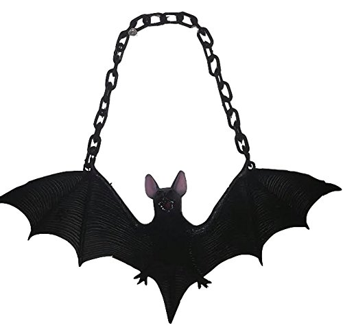 Flying (Rubber) Black Vampire Bat w/ Plastic Link Chain / Halloween Accessory (Halloween Accessories)