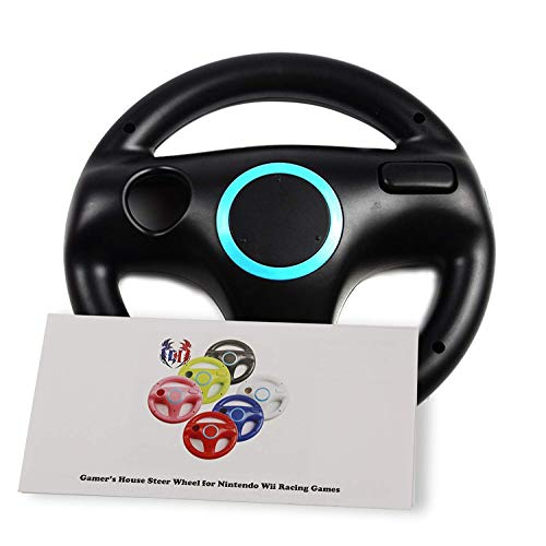 (GH Wii Steering Wheel for Mario Kart 8 and Other Nintendo Remote Driving Games, Wii (U) Racing Wheel for Remote Plus Controller - Bomb Black (6 Colors Available))
