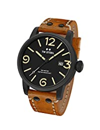 TW Steel Men's 'Maverick' Quartz Stainless and Leather Watch, Color:Brown (Model: MS31)