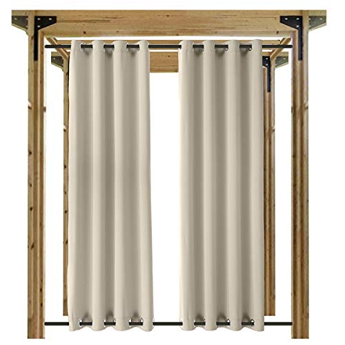 cololeaf Waterproof Outdoor Curtain Panel for Patio Thermal Insulated Top and Bottom Grommet Blackout Indoor Outdoor Curtain/Drape Windproof,Beige 52W x 102L Inch (1 Panel) For Sale
