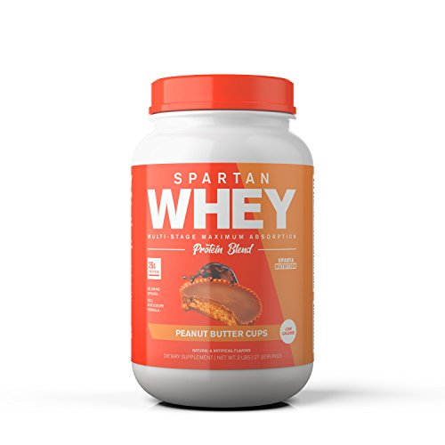 Spartan Whey: Best Rated Protein Powder Blend, Best Tasting Whey Protein Isolate, Concentrate and Micellar Casein Blend with AstraGin for Amino Acid Bioavailability, Peanut Butter Cups, 2 pounds