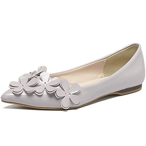 Qzunique Womens Casual Pointed Plain Ballet Comfort Soft Slip Op Platte Schoenen Grijs