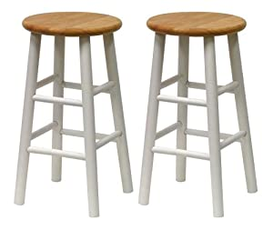 Winsome Wood S/2 Beveled Seat 24-Inch Counter Stools Nat/Wht  sc 1 st  Amazon.com : counter stools wood - islam-shia.org