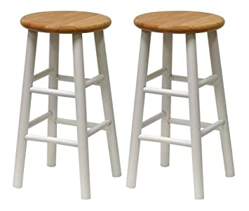 winsome wood s2 beveled seat 24inch counter stools natwht
