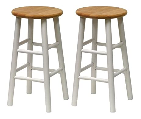 Winsome Wood S/2 Beveled Seat 24-Inch Counter Stools Nat/Wht  sc 1 st  Amazon.com & Amazon.com: Winsome Wood S/2 Beveled Seat 24-Inch Counter Stools ... islam-shia.org