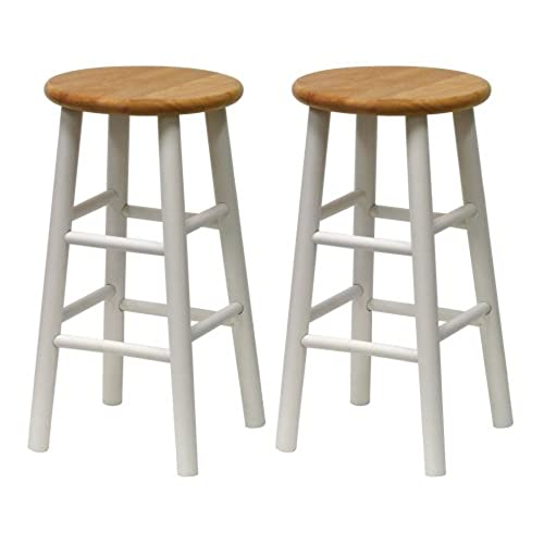 Winsome Wood S/2 Beveled Seat 24 Inch Counter Stools, Nat/Wht