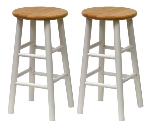 Winsome Wood S/2 Beveled Seat 24-Inch Counter Stools, Nat/Wht - Winsome Cherry Bar Stool