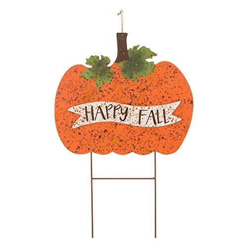 Glitzhome Fall Yard Stakes Yard Sign Rusty Pumpkin
