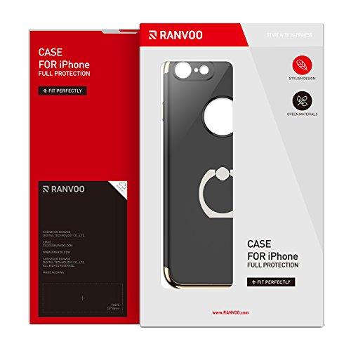iPhone 7 Hülle mit Ring Ständer, RANVOO 3-Teilige Styliche Extra Dünne Harte Schutzhülle für iPhone 7, Gold und Schwarz[Apple Logo sichtbar]