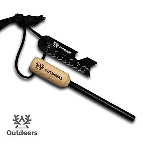Outdeers Feuerstahl mit Anzündholz und Zundergriff – Feuerstarter mit bis zu 12000 Zündungen – Der Feuerstein zum Feuer…