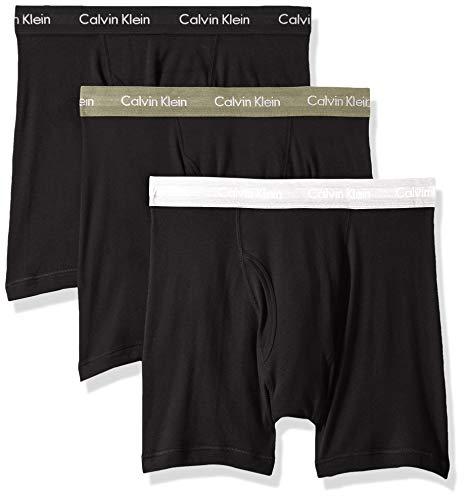 Calvin Klein Men's 100% Cotton Boxer Briefs, Black/Black/Beetle/Silver/Pack, XL
