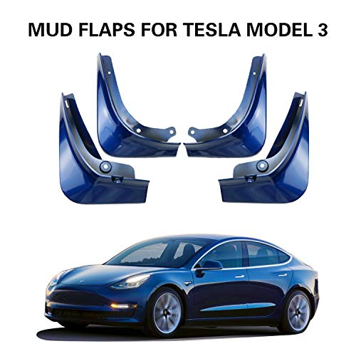 LFOTPP Mud Flaps for Tesla Model 3 Splash Guards Mudflap Fender Mudguards Pack of 4 (Painted Glossy Blue)