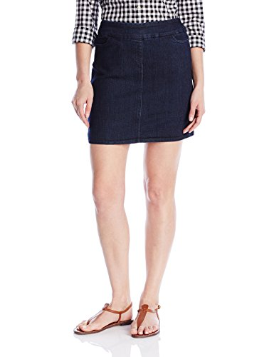 SLIM-SATION Women's Size Wide Band Solid Skort, Denim, 10