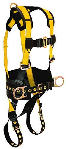 FallTech 7035M Journeyman Full Body Polyester Harness with 3 D-Rings and Tongue Buckle Leg Straps with Belt, Medium