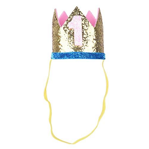 iiniim Baby Girls Boys First /1st Birthday Party Hat Little Prince Crown Headband Head wear Accessories Gold Number 1 One Size by iiniim (Image #2)