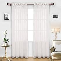 Decoovo Linen Look Sheer Window Curtain