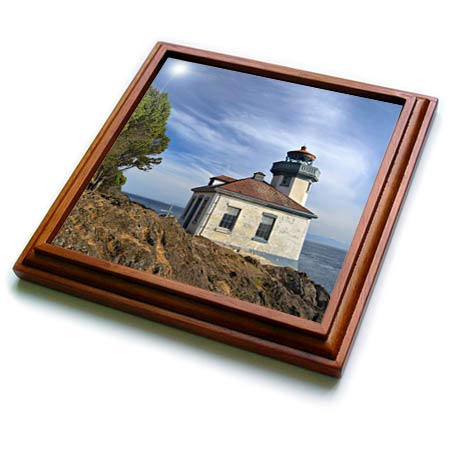3dRose Danita Delimont - Washington - USA, Washington State, San Juan Island, Lime Kiln Point Lighthouse. - 8x8 Trivet with 6x6 ceramic tile (trv_315158_1)