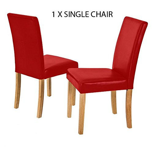 Flexi Faux Leather Dining Single Chair Padded Back and Seat Oak Color Legs (White)