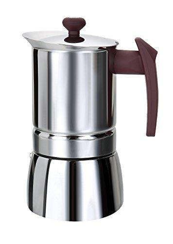 Rossetto Cafetera italiana de acero inoxidable con mango marrón, acero inoxidable, poignée violette, 10 tasses