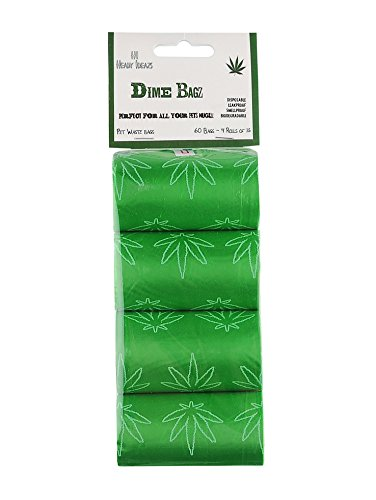 Heady Ideazs 60-count Weed Leaf Logo Biodegradable Dog Poop and Dog Waste Bags, Dog Owner and Stoner Gag Item, 4/20 gift or Birthday Gift. Dime Bagz are Perfect For Dog Lovers.