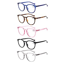Kerecsen Reading Glasses 5 Pairs Spring Hinge Fashion Round Men and Women Readers (5 Pack Mix Color, 0.75)