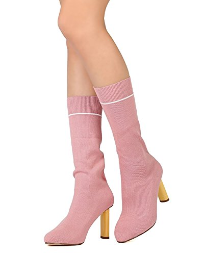 GB55 Boot CAPE Pointy Oval Heel Rose Sock Calf Toe Sweater Women Dusty ROBBIN Mid PHvP1q