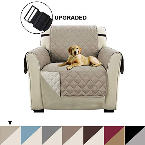 """Turquoize Reversible Sofa Slipcover Quilted Furniture Protector for Chair, Water Resistant Chair Protector for Dogs with 2"""" Elastic Strap, Seat Width Up to 21"""" Reversible Chair Cover (Chair, Khaki)"""