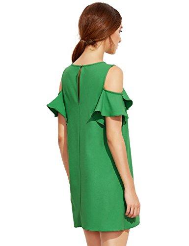 Milumia Women's Summer Cold Shoulder Ruffle Sleeves Shift Dress Green L Photo #3