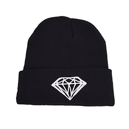 Black Knit Hats - Hip Hop Diamond Skull Winter Beanie Hat for Women / Men (Black Diamond)