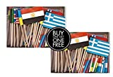 2 Boxes Mini Assorted World Toothpick Flags, BOGO Buy 1 Box of 100 and Get Another Box Free, Total 200 Small Mini International Flag Cupcake Toothpicks or Tiny Cocktail Sticks & Picks