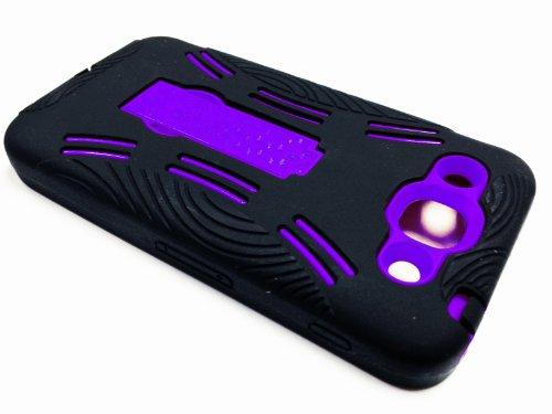 For LG Optimus G Pro E980 Kickstand Hybrid Hard Phone Cover Case - Black / Purple + Happy Face Phone Dust Plug
