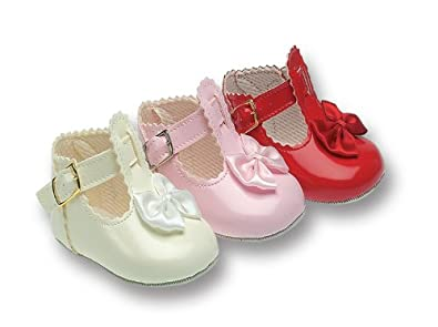 Baby Girl Christening Pram Shoes White Patent - Size 0 (0/3 months ...