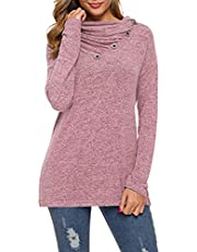 OMSJ Womens Casual Sweatshirts Color Block Long Sleeve Round Neck Pocket T Shirts Blouses Tops
