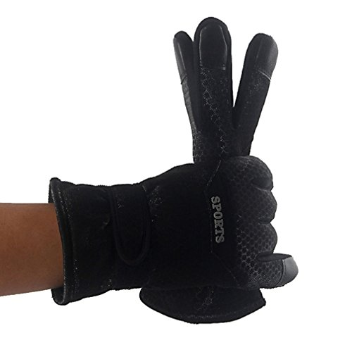 Tonsee 2015 Winter im freien Sport Mountain Ski Handschuhe Full Finger warm Snowboard Ski Handschuhe Radfahren Männer Frauen Handschuh (schwarz)