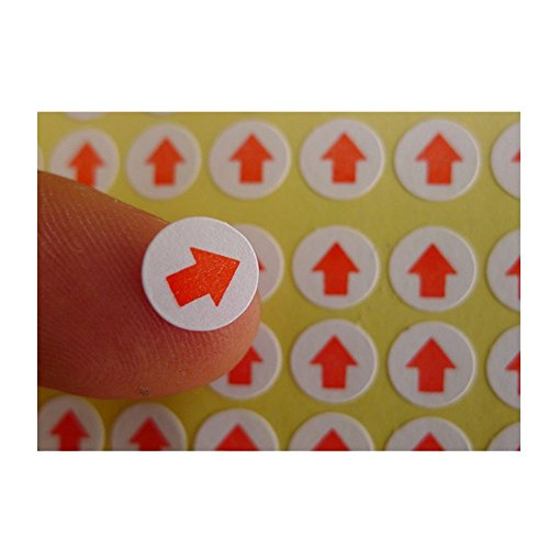Red Arrow Self Adhesive Sticker Coded Paper Labels Safety Sign Arrow Shaped Map Dot Stickers QC Inspect Failed Defective Pressure Sensitive Paper Machine Equipment (Type#1 / 14400 Pcs (75 Sheets)) Red Arrows Self Adhesive