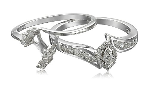 Interlocking Wedding Rings.Amazon Com 10k White Gold Marquise And Round Diamond Bypass