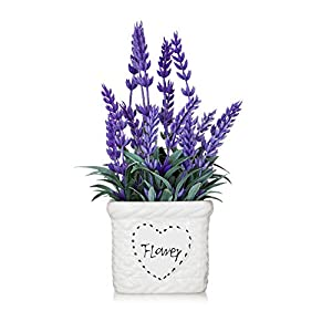 Potted Lavender Flowers -Small Artificial Purple Plant - Cute Flower with White Ceramic Vase for Home, Party & Wedding Décor 65