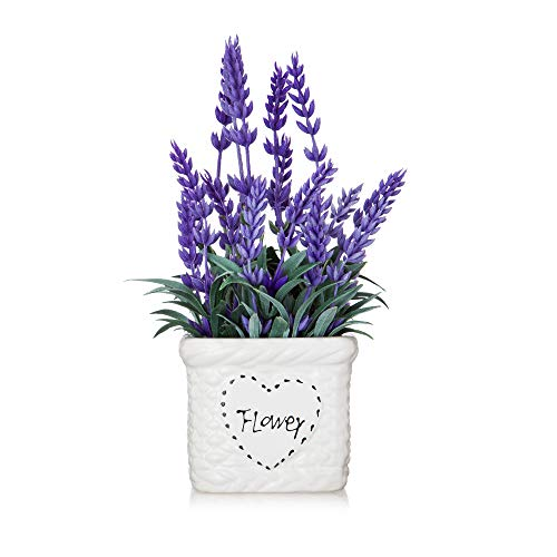 Potted Lavender Flowers -Small Artificial Purple Plant - Cute Flower with White Ceramic Vase for Home, Party & Wedding Décor